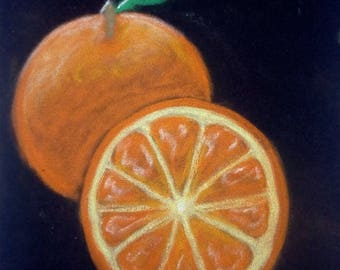 Fruit painting art- orange art painting, fruit kitchen painting, kitchen wall deco, dinning room art, small still life, daily painting