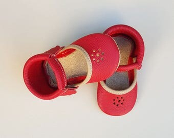 Classic Mary Jane in Red | Red moccasins| Red Moccs | Moccs for girls | Baby Moccsins.