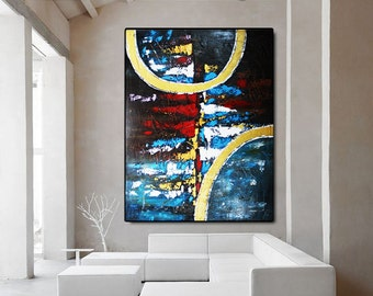 ORIGINAL Large Abstract Painting Modern Fine Art Abstract Canvas Art Abstract Art Red Black Abstract Painting Wall Art Contemporary Art Blue