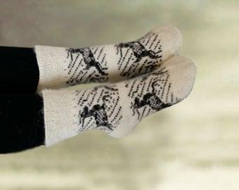 Deer pattern socks, Wool merino socks, Womens warm socks, Knit socks women, Winter socks knit, Knitted merino socks, White winter socks