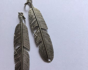 Feather Zipper Charms - 6cm Silver
