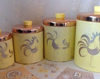 Ransburg Yellow With Copper Lids Tin Rooster Canister Set Vintage