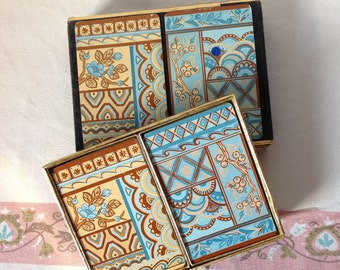 Vintage Double Deck Playing Cards Blue and Tan Geometric Floral Design