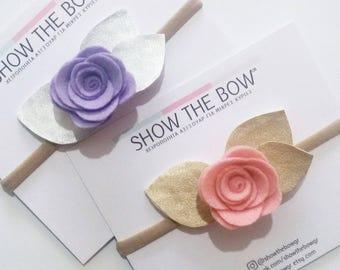Τσόχινο λουλούδι με μεταλλικά φύλλα σε headband (κορδέλα)/Baby Girl, Toddler, Girls Felt flower Headband with metallic leaves