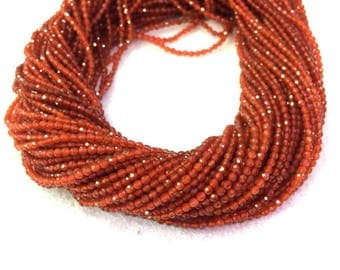 Orange Carnelian Faceted Beads 2mm 3mm 4mm AAA Grade Tiny Orange agate Beads small Red Beads Tiny Orange Gemstones Carnelian Spacer Beads