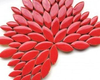 Petal Ceramic Mosaic Tiles - Red - 50g (approx. 50 petals)