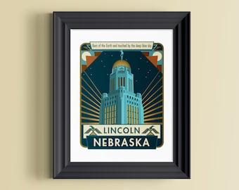 Nebraska art | Nebraska home decor | Nebraska art print | Nebraska wall decor | Lincoln Nebraska | Lincoln Nebraska art | Nebraska wall art