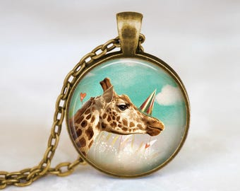 Cute Giraffe Necklace Cute Pendant - Summer Necklace Cute Animal Pendant - Cute Giraffe Jewelry Summer Pendant - Cute Animal Gift Necklace
