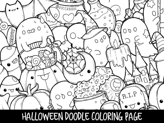 Halloween Doodle Coloring Page Printable Cute Coloring Page