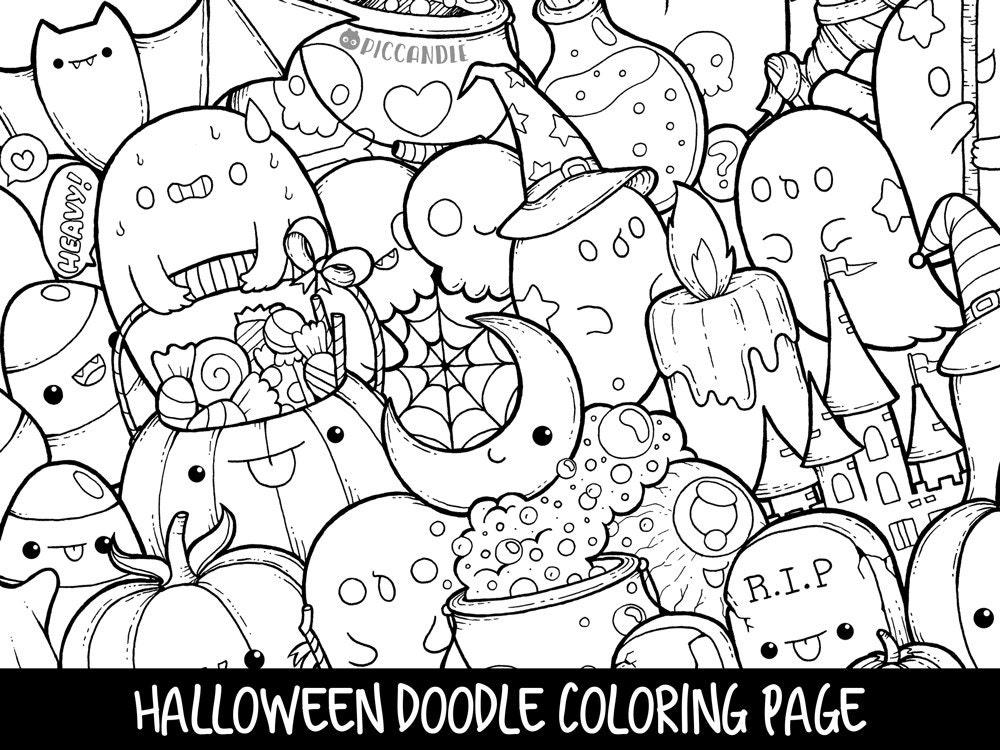 kawaii halloween coloring pages - photo#1
