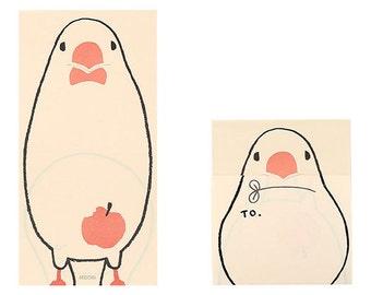 Midori Bird sticky notes, Secret Memo pad, Animal memo, Funny notepad, Japanese stationery, Cool gift