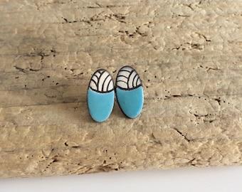 Earrings studs, oval, geometric, graphic, ceramic, ceramic
