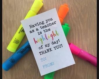 DIGITAL Highlight Teacher Appreciation Valentine Holiday Grateful Tag Instant Download Thank You Gift Idea Pdf File