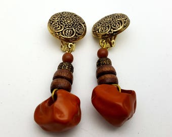 Clip On Long Detailed Gold Tone Plastic and Wood Beaded Drop Earring Earrings Vintage 80s Carved Lightweight Dangle Beads Primitive