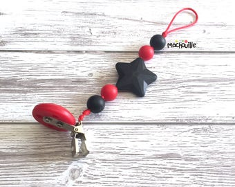 Baby pacifier holder, silicone pacifier chain, food grade silicone, silicone chew toy, baby safe, custom, black red, star, Mâchouille