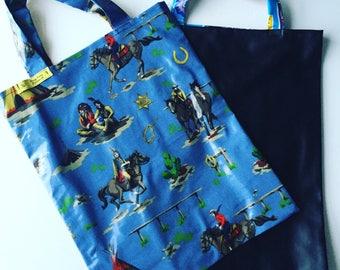 Cowboy and Indian Blackboard Bag, Blackboard library bag, shopping bag, toy bag, chalkmat bag,