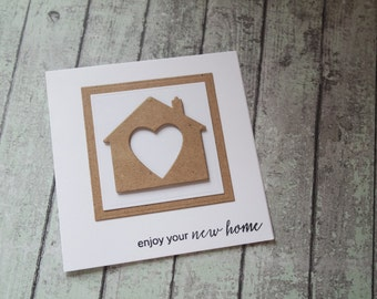 Enjoy your new home card / handmade greetings card / House warming card / New home card / House moving card / rustic new home card