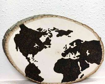 Woodburned World Map Wall Art Wooden Plaque customized optional quote