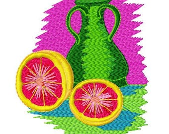 Lemon and Teapot, Machine Embroidery Design, 4x4 Hoop Size