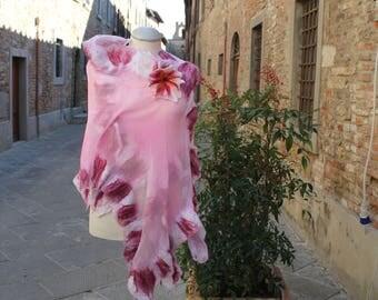 Hand painted silk scarf, Silk Scarf, Pink silk scarf, Scarves for women, Silk fabric, Shawl, Hand painted silk, Silk clothing, Merino Wool