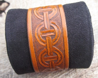 Mens Leather Cuff Bracelet with Hand Tooled Slavic geometric design made to order. Free shipping.