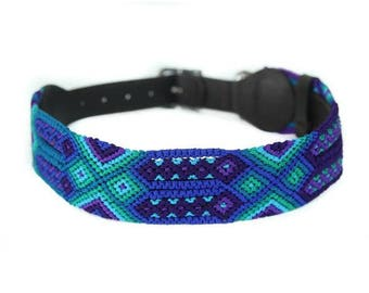 Peacock Dog Collar - Blue/Green