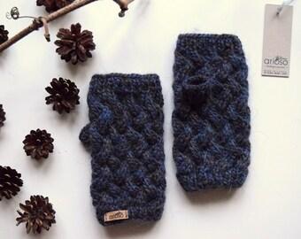 Short arm-warmers, Handmade fingerless Mittens, Wrist Warmers, Basket Mitts for Women or Teen, mix of blue and grey  fingerless