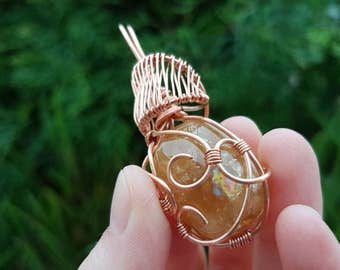 Reiki infused honey calcite healing necklace // Solar plexus chakra // Wire wrapped