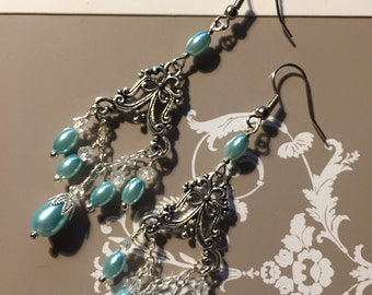 Blue Bridal Earrings, Chandelier Wedding Earrings, Vintage Drop Earrings, Vintage Bridal Earrings