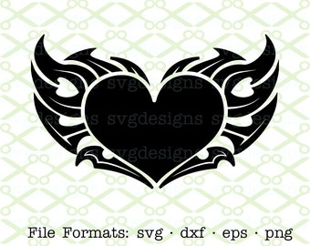 Tribal Heart SVG, Dxf, Eps, Png. Digital Cut Files for Cricut, Silhouette; Stylized Heart Tattoo Svg, Heart Silhouette,Tribal Heart Clipart