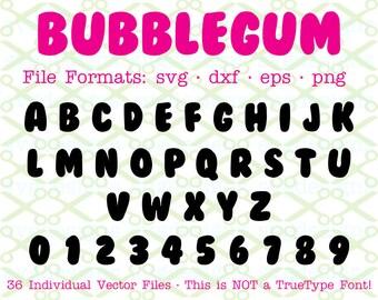 BUBBLEGUM Monogram Svg Letters & Numbers, Svg Dxf Eps, Png.  Capital Letters, Svg Alphabet, Monogram Letters Cricut Silhouette;Svg Cut Files