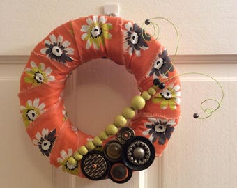 "8"" wreath-flower print cotton fabric-orange-gray-green-yellow-beads-bug-spring-summer-caterpillar-vintage buttons-home decoration"