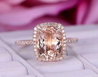 3ct Big Morganite  Engagement ring/diamond wedding ring in 14k rose gold/Oval cut morganite ring/Claw Prongs/Halo stacking/Anniversary ring