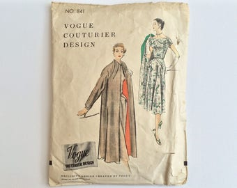 RARE B34 1950s Dress & Coat / Jacket Sewing Pattern : Vogue Couturier 841