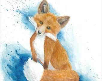 Orange Fox Watercolor Print - Unframed, blue, abstract art, baby fox, nursery, wall decor, glicee print, large prints, rustic, woodlands