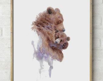 Abstract Mama Bear watercolor Print- Abstract bear painting, Mother Bear hugging Baby Bear, bear cub watercolor nursery art, wall art