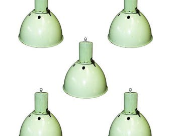 Green industrial lamps - industrial lighting - vintage green industrial lamp - vintage pendant light - industrial lighting
