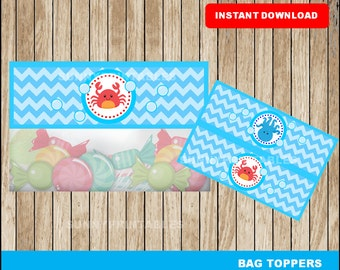 Under The Sea bags toppers; printable Under The Sea treat bags toppers, Under The Sea party toppers instant download