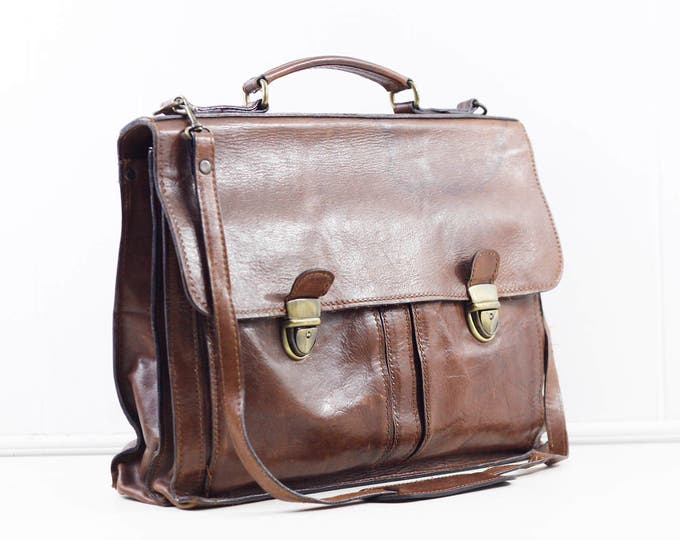 leather laptop bag, vintage chestnut brown Italian leather bag by Old Angler, leather attache, business portfolio