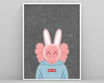 Pink Accomplice wearing Supreme hoodie, Kaws Print, Kaws Poster, Kaws Art Print, KAWS Wall Art, Kaws Illustration, KAWS, Kaws Art Decoration