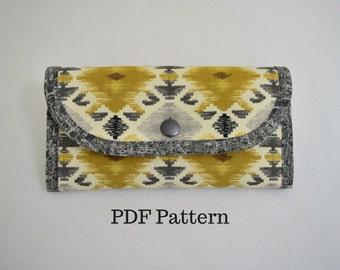 My Favorite Wallet III, PDF sewing pattern for wallet with card slots, slip pockets, zipper pocket. Bifold clutch wallet by KaysSewingStudio