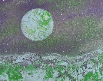 """Abstract acrylic painting """"Alien planet"""" 30x70cm"""