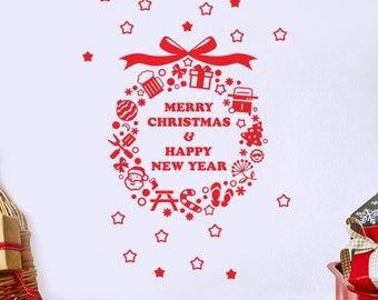 Christmas Wreath Wall Decal - Removable Wall Sticker   PP302