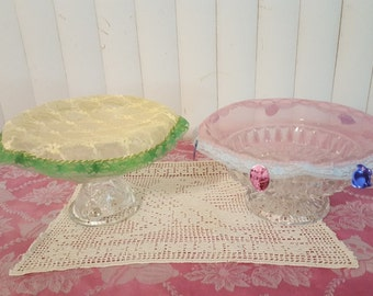 "Easter/Spring Food Covers Round Decorative with Vintage Lace Trim, 9.5"" & 10.25"" in Diameter (Each)"
