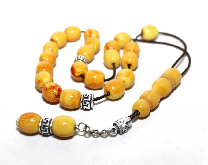 Worry Beads, Greek Komboloi, Kahraman Amber color, Round Barrel shape Beads, Relaxation, Meditation