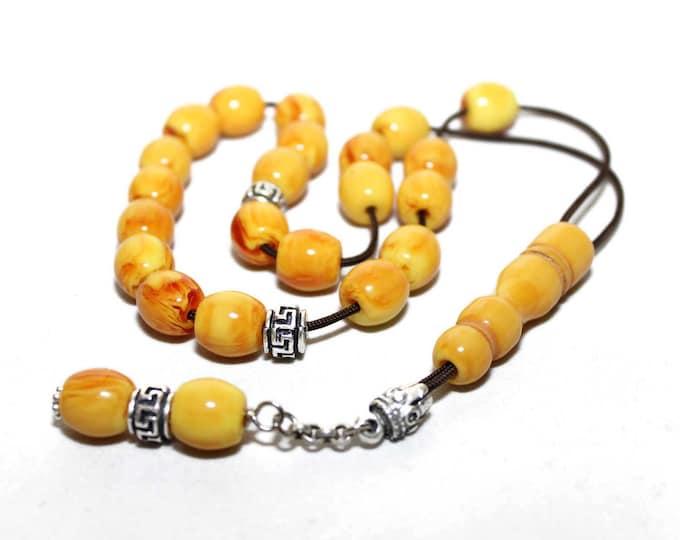 Worry Beads, Greek Komboloi, Kahraman Amber color, Round Barrel shape Beads, Relaxation, Meditation