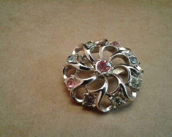 Filigree Pinwheel Brooch with Pastel Rhinestones