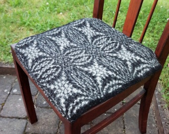 pure wool chair cushion in black and white