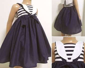 Sailor dress - navy blue and white - sizes 6 months to 16 years