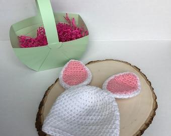 Crochet bunny hat-crochet easter hat-newborn easter hat-baby easter hat-newborn photo prop-ready to ship